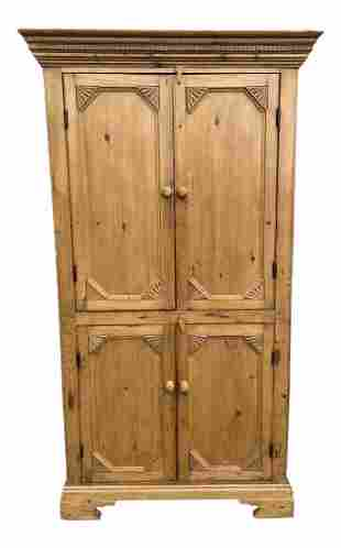 1940s Primitive Carved Pine Armoire