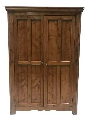 1940s French Pine Two Door Cupboard