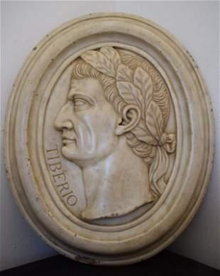 Oval marble profile, portrait of the Roman emperor