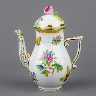 Herend Queen Victoria Coffee Mocha Pot with Pink Rose