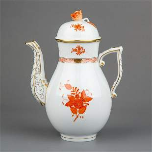 Herend Chinese Bouquet Rust Orange Large Teapot with