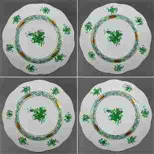 Set of Four Herend Chinese Bouquet Green Dessert Plates
