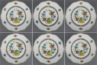 Set of Six Herend Indian Basket Multicolor Dessert