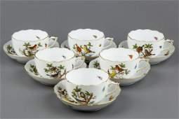 Set of Six Herend Rothschild Bird Tea Cups with Saucers