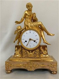 Antique Empire Gilt Bronze Clock Goddess with Cherub