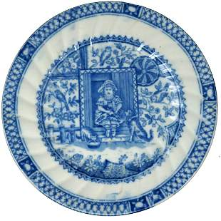 19th C Allerton Staffordshire Little Mae Child's Plate