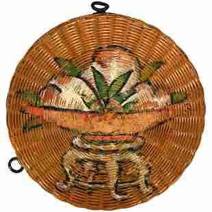 Chinese Woven Bamboo/Metal Cosmetic Box c 1920