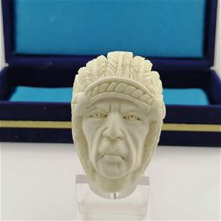 American Indian Chief,Hand carved Meerschaum Pipe