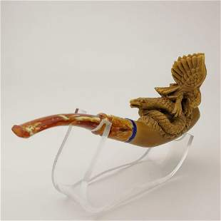 Eagle with Snake,Hand carved Meerschaum Cigarette