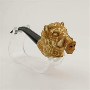 Wild Boar,Hand carved Meerschaum Pipe