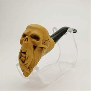 Bearded Skull,Hand carved Meerschaum Pipe