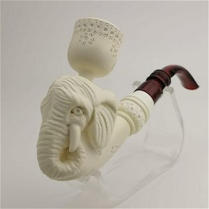 Elephant Hand carved Meerschaum Pipe and Cigarette