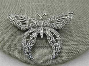 Vintage Sterling Marcasite Butterfly Brooch, Art Deco