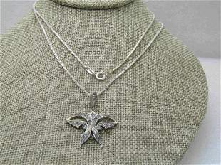 Vintage Sterling Silver Art Deco Butterfly Necklace,