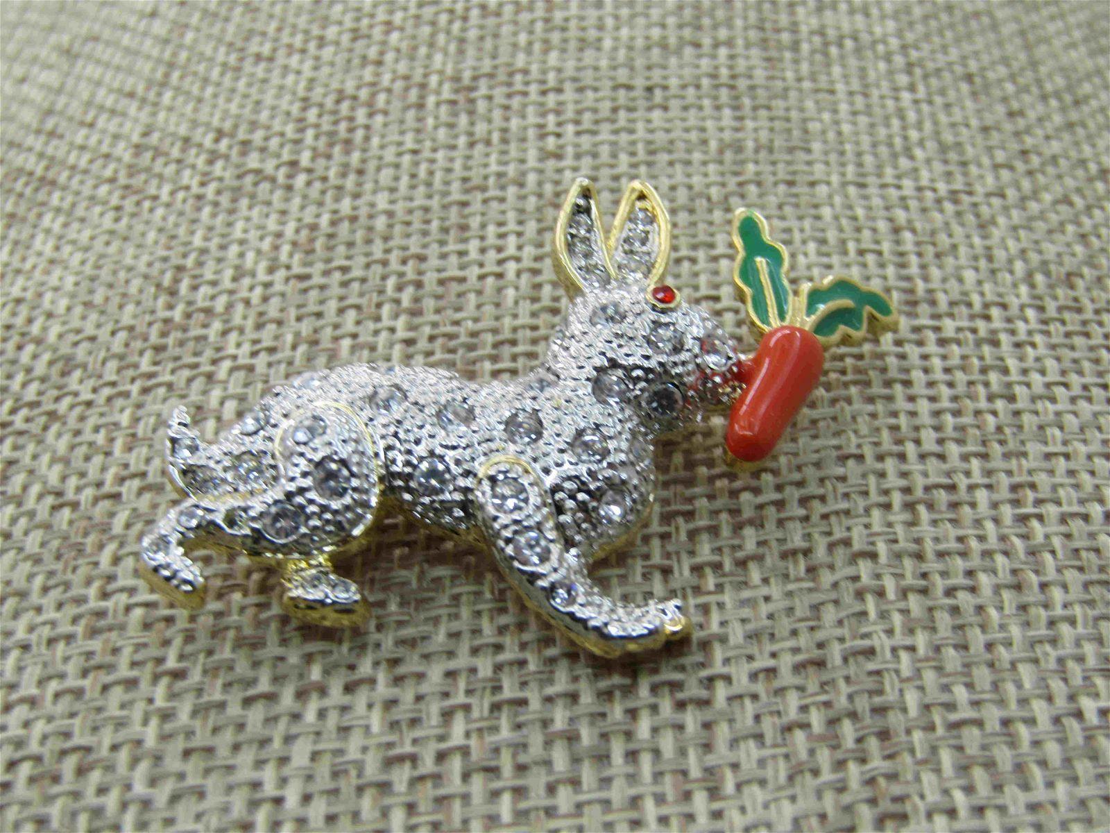 Vintage Rhinestone Rabbit & Carrot Brooch, Enameled