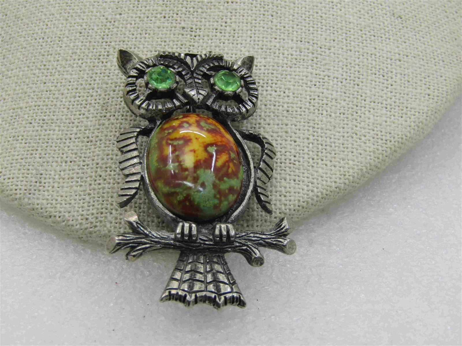 Vintage Rhinestone & Faux Agate Owl Brooch, Pewter