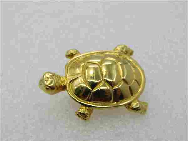 "Vintage Gold Tone Turtle Brooch, 1.25"", 1960's-1970's"