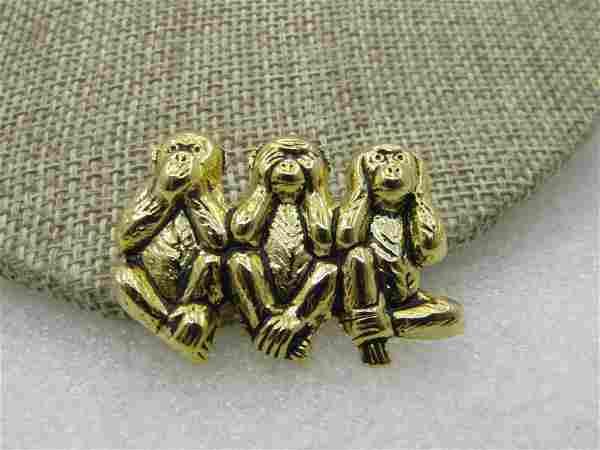 Vintage Speak, See, Hear No Evil Monkey Brooch, Gold