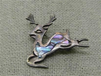 Vintage Mexican Sterling Inlaid Abalone Reindeer