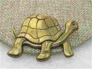 "Vintage Brass Turtle Brooch, 2"" by 1.5"", 1960's"