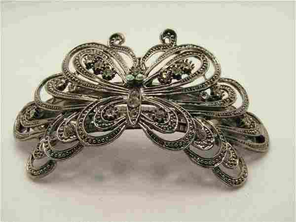 """Vintage Butterfly Rhinestone Barrette, 3.75"""" by 1.75"""" -"""