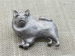 "Vintage Pewter Husky/Keeshond Tack Pin/Brooch, 1.25"""