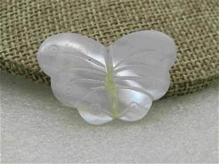 Vintage Carved Mother-of-Pearl Butterfly Brooch, or