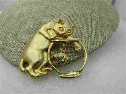 """Vintage Cat and Fish Bowl Brooch, 2"""", 1980's, Gold Tone"""
