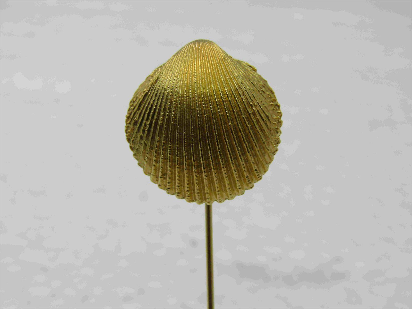"""Vintage Trifari Shell Stick Pin, Gold Tone, 2.5"""","""