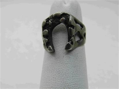 Vintage Sterling Southwestern Horseshoe Nugget Ring,