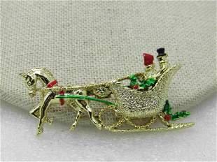 Vintage Gerry's Christmas Horse & Sleigh Brooch,