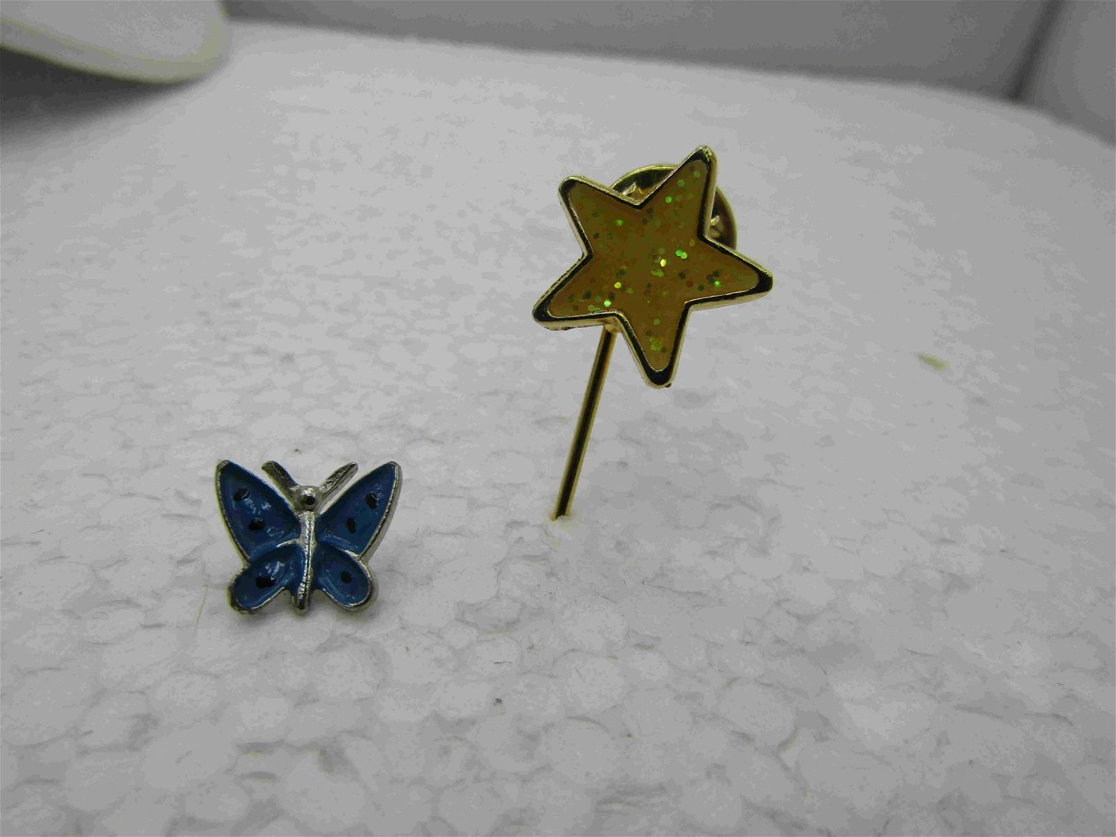 Vintage Enameled Butterfly & Star Tack Pin Lot, 2 Pins,