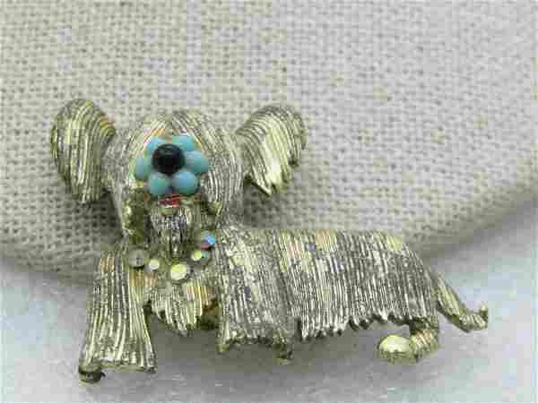 Vintage Skye Terrier Dog Brooch, Rhinestones, Faux