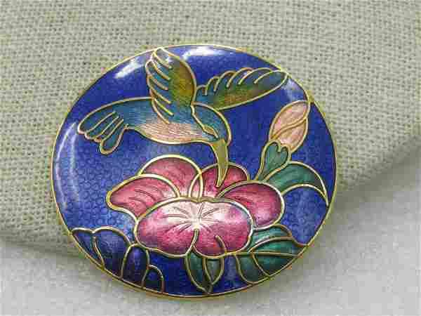 """Vintage Cloisonne Hummingbird Floral Brooch, 1.75"""""""