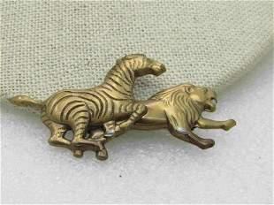 "Vintage Zebra & Lion Brooch, Brass Tone, 2.25"""