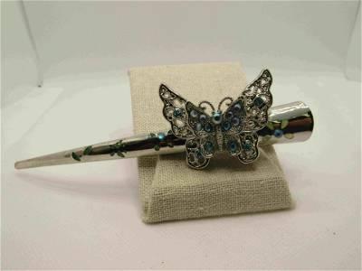 "Vintage 5"" Rhinestone Butterfly Hair Clip, Hinged,"