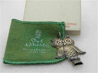 Vintage Sterling Reed & Barton Owl Whistle, Original
