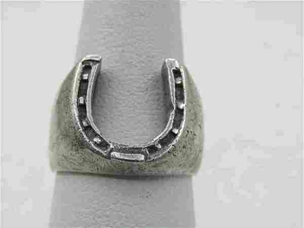 Vintage Sterling Southwestern Horseshoe Ring, Sz. 8,