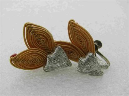 Vintage Silver & Gold Wrapped Butterfly Earrings, Screw