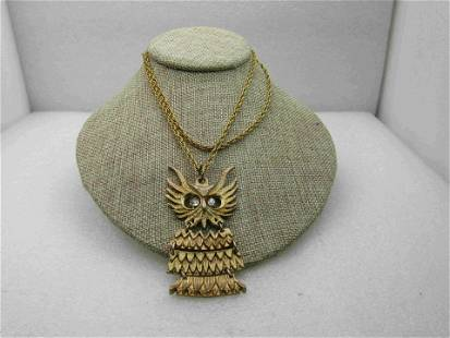 """Vintage Segmented Owl Necklace, 28"""" Rope Chain, 1970's"""