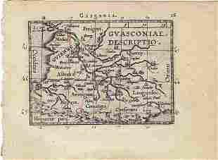 1602 Ortelius Map of Bourdeux region of France --