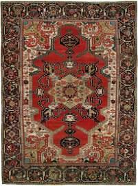 Jewel Toned Oversize Antique Serapi Carpet