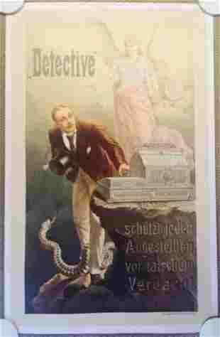 DETECTIVE - ORIGINAL 1900 GERMAN LB ADVERTISING POSTER