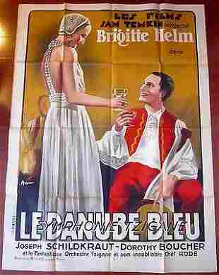 CUT 200!! BLUE DANUBE 1932 FRENCH 1P POSTER - VERY RARE