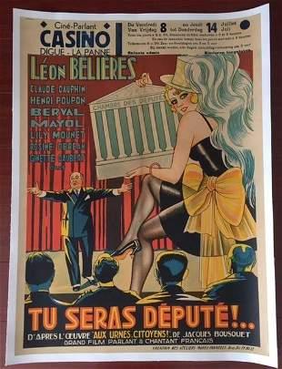 TU SERAS DEPUTE!.. - ORIGINAL 1932 BELGIAN LB POSTER -