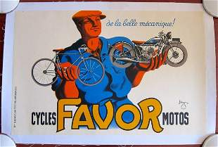 Cycles Favor Motos - Art by Bellenger (1917) French