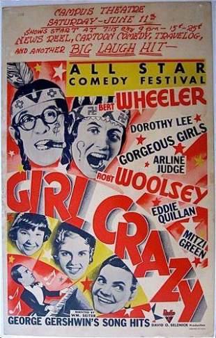 GIRL CRAZY - ORIGINAL 1932 WINDOW CARD POSTER - BERT