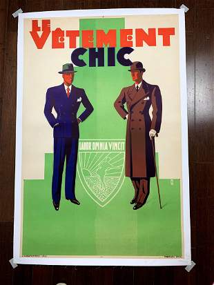 """Le Vetement Chic - Work Conquers All (1934) 31"""" x 47"""""""