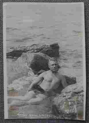 Ca. 1920's Semi Nude Russian Swimmer in the Water