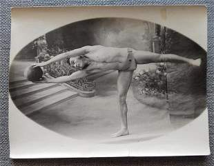 Ca. 1910's Semi Nide Athletic Man with Medicine Ball